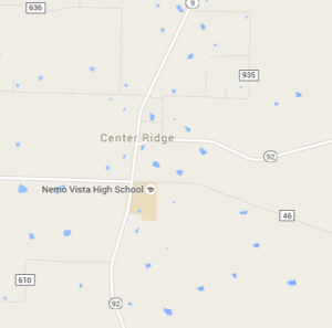 Center Ridge, Ark., population 388 (as of 2010 census).
