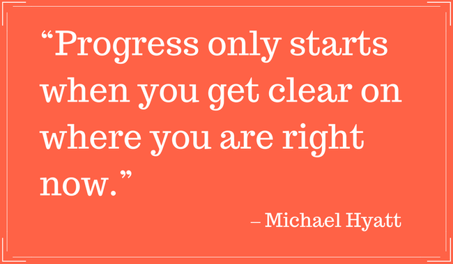 michael-hyatt-quote-progress-only-starts-when-you-get-clear-on-where-you-are-right-now